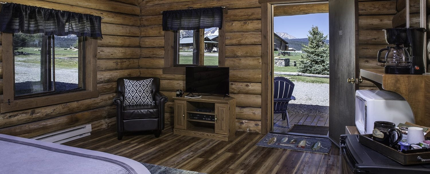 cabin bedroom with view