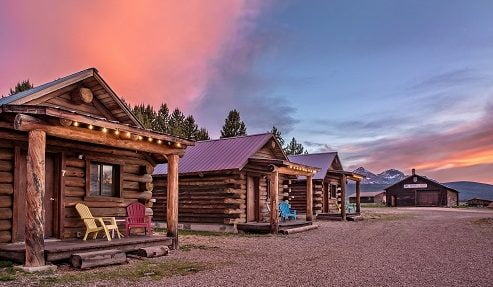 a line of Triangle C Cabins in Stanley, Idaho